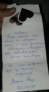 cartão da professora mineira para voluntária do Paraná